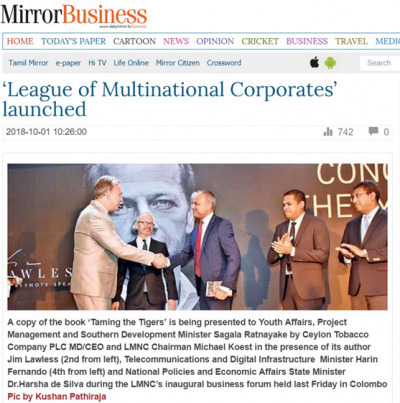 "Image: Chairman of Ceylon Tobacco Company and LMNC Michael Koest, Keynote speaker of the event Jim Lawless, Minister Harsha de Silva, Minister Sagala Ratnayake and Minister Harin Fernando at the event ""League of Multinational corporates (LMNC)""[1]"